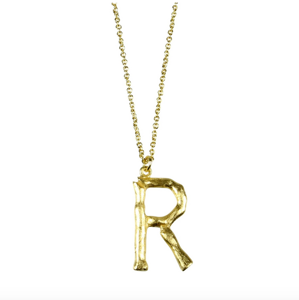 Pure By Nat Bamboo Letter 'R' in Gold