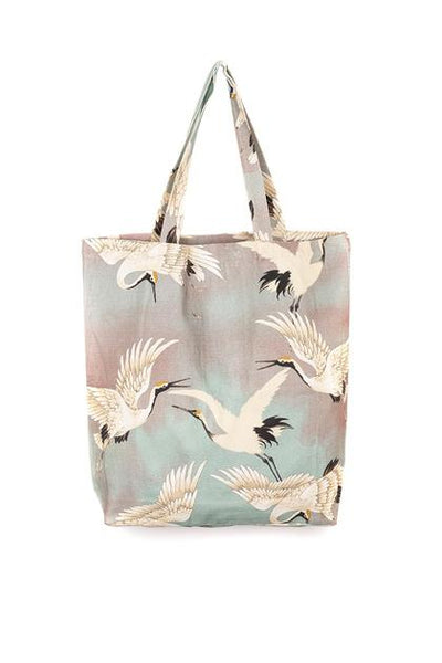 Large Bird Print Oversize Bag - Aqua