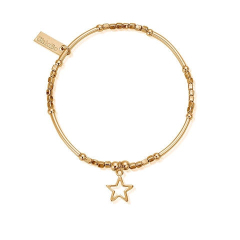 ChloBo Mini Noodle Cube Open Star Bracelet - Gold