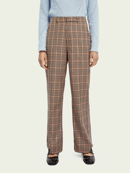 Maison Scotch Wide Leg Checked Trousers