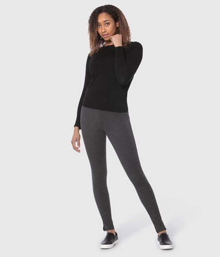 Lola Jeans Anna Ponte Mid-Rise Pull-On Ankle Pant in Jersey Charcoal