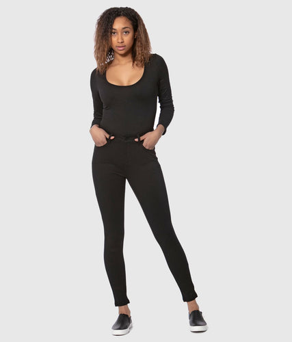 Lola Jeans Claire Ponte Mid-Rise Ankle in Black