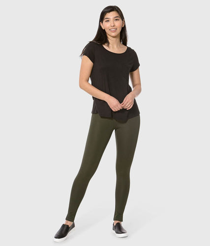 Lola Jeans Anna Ponte Mid-Rise Pull-On Ankle Pant in Jersey Hunter Green