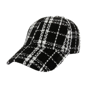 Black Plaid Tweed Baseball Cap