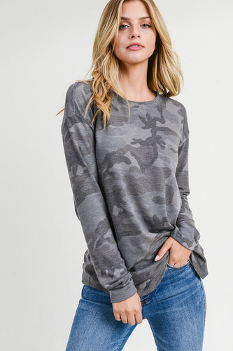 Oversized Camo Top in Army Charcoal