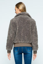 Load image into Gallery viewer, High Neck Sherpa Bomber Jacket