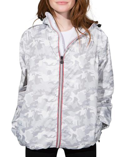O8lifestyle Sloane Print - White Camo Full Zip Packable Rain Jacket
