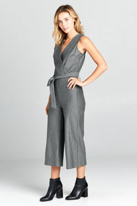 Renee C. Striped V-Neck Jumpsuit with Waist Tie - Final Sale