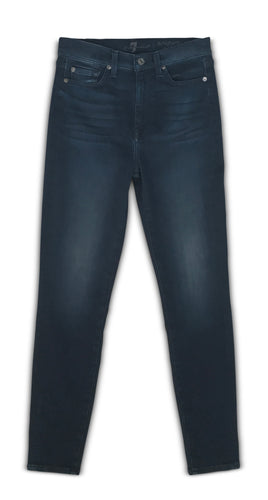 7 For All Mankind High Waist Ankle Skinny Jean in Deep Water