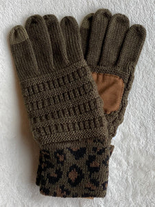 Leopard Solid Ribbed Gloves - Multiple Colors