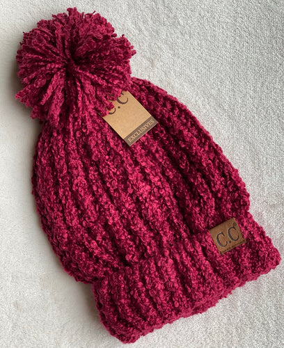 Chenille Pom Pom Hat - Multiple Colors