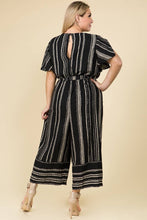 Load image into Gallery viewer, Luxology Striped Notched Collar Jumpsuit