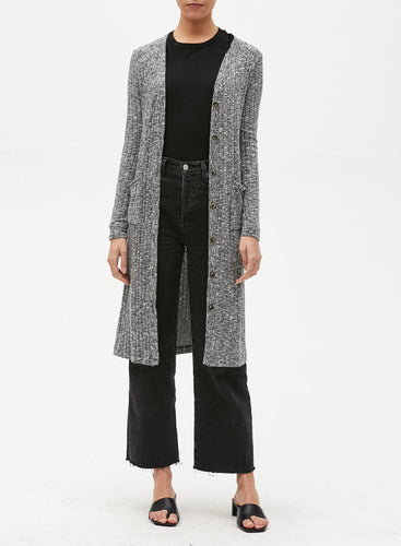 Michael Stars Ella Long Cardigan in Heather Grey