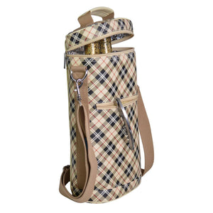 Brandy Tan Plaid 2-Bottle Insulated Carrier w/Divider