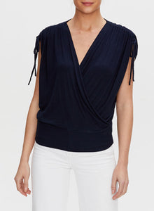 Michael Stars Cadence Ruched Sleeve OS Shirt in Black