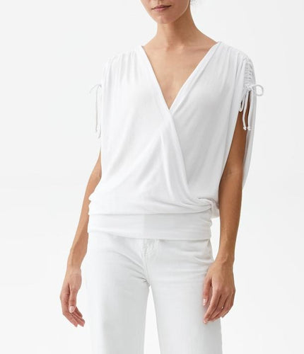 Michael Stars Cadence Ruched Sleeve OS Shirt in White
