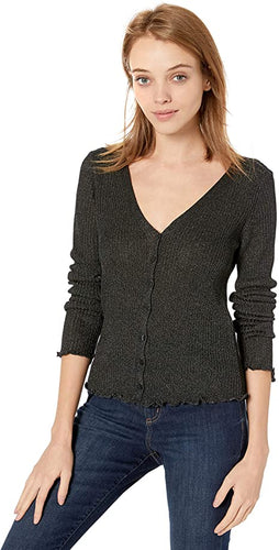 BB Dakota Honey I Shrunk The Metallic V-Neck Cardigan
