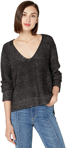 BB Dakota Baby One More Time Metallic Yarn V-Neck Sweater