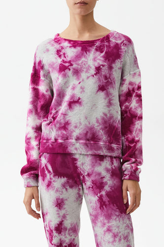 Michael Stars Ezra Tie Dye Sweatshirt in Majesty