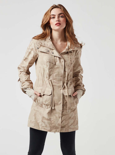 Blanc Noir Anorak Camo Jacket in Taupe