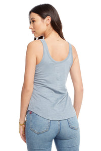 Chaser Brand Linen Jersey Double Scoop Shirttail Tank