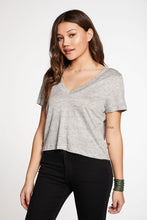 Load image into Gallery viewer, Chaser Brand Linen Jersey Cropped V-Neck Tee
