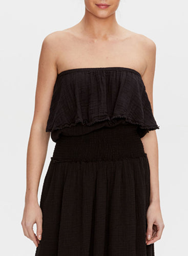Michael Stars Tiered Tube Top w/Dot Trim