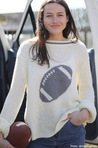 Wooden Ships Football Crewneck Chunky Sweater