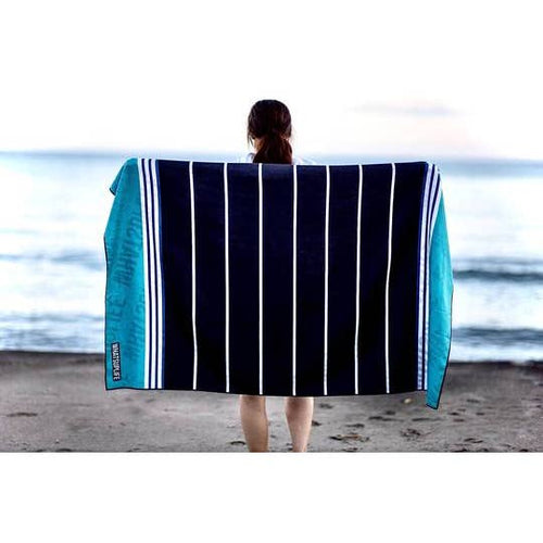 Beach Towel - Black and Blue Stripes
