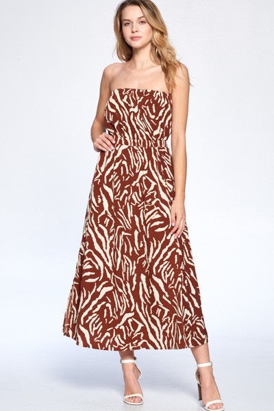 Crescent Heloise Zebra Tube Dress - Final Sale
