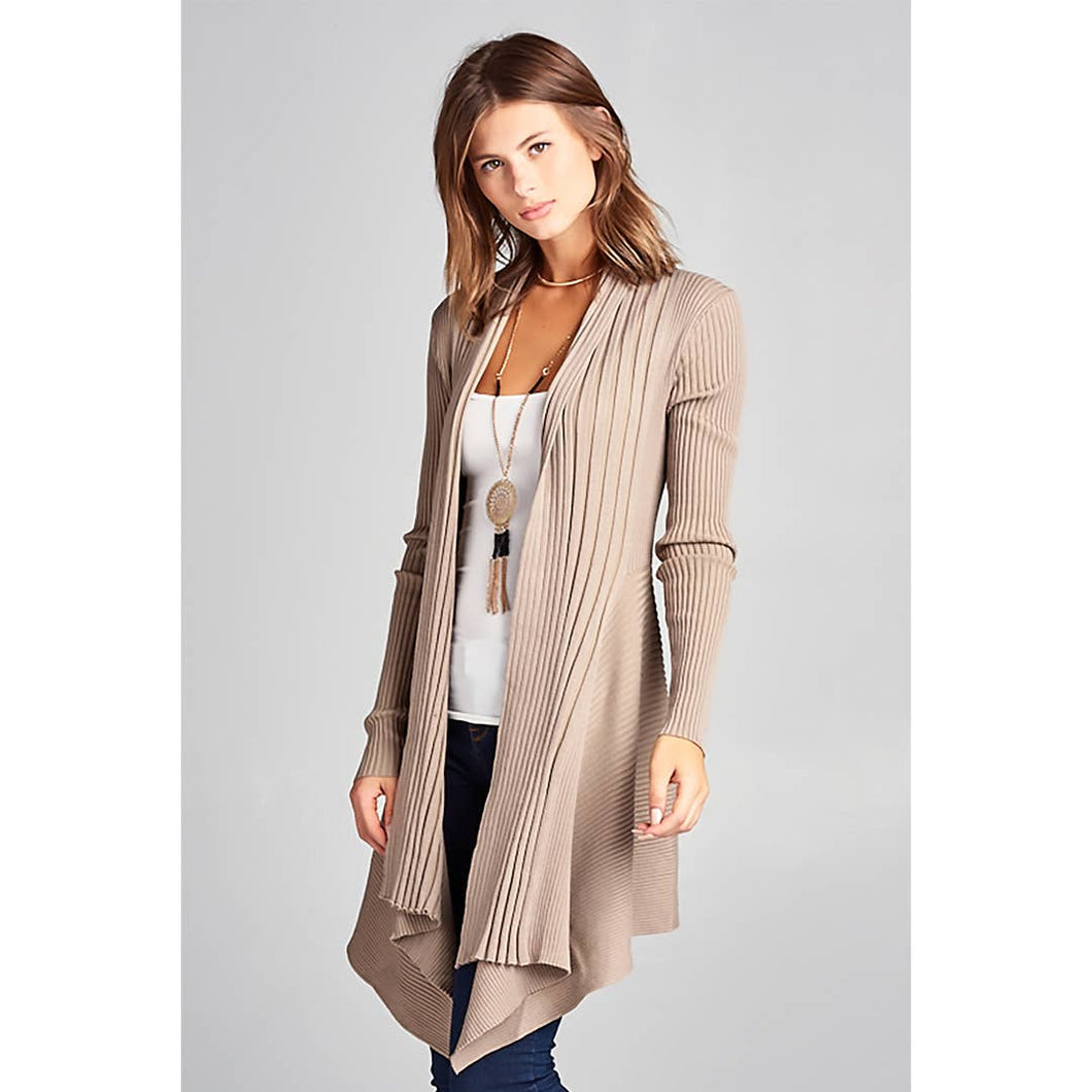 Renee C. Super Soft Asymmetric Solid Rib Sweater Cardigan