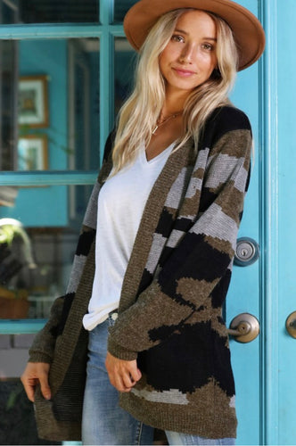 Camouflage Knitted Sweater Cardigan