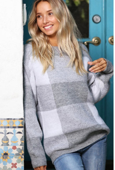 Oversize Plaid Knitted Sweater