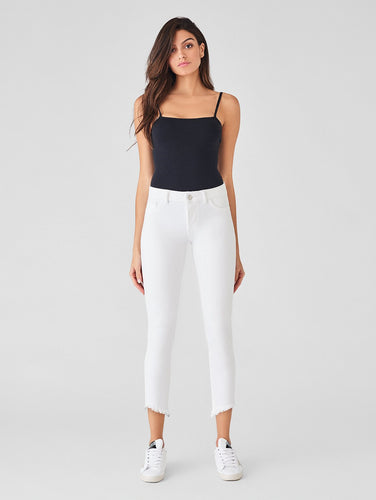 DL1961 Florence Cropped Mid Rise Skinny Jean in Santa Fe White - Final Sale