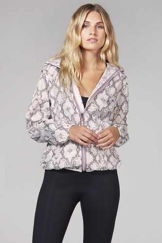 O8lifestyle Sloane Print - White Python Full Zip Packable Rain Jacket