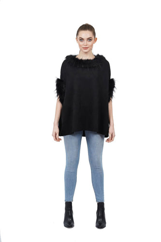Love Token Gillian Faux Fur Trim Sleeveless Shirt Poncho