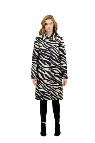 Love Token Vivianne Long Coat in Zebra