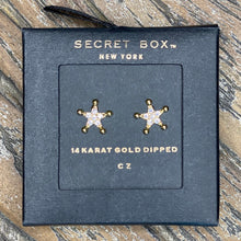 Load image into Gallery viewer, CZ Gold Dipped Cowboy Badge Earring Studs
