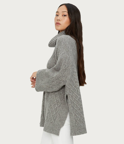 Michael Stars Lex Oversized Turtleneck Poncho Sweater