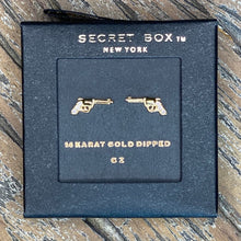 Load image into Gallery viewer, CZ Gold Dipped Western Gun Earring Studs