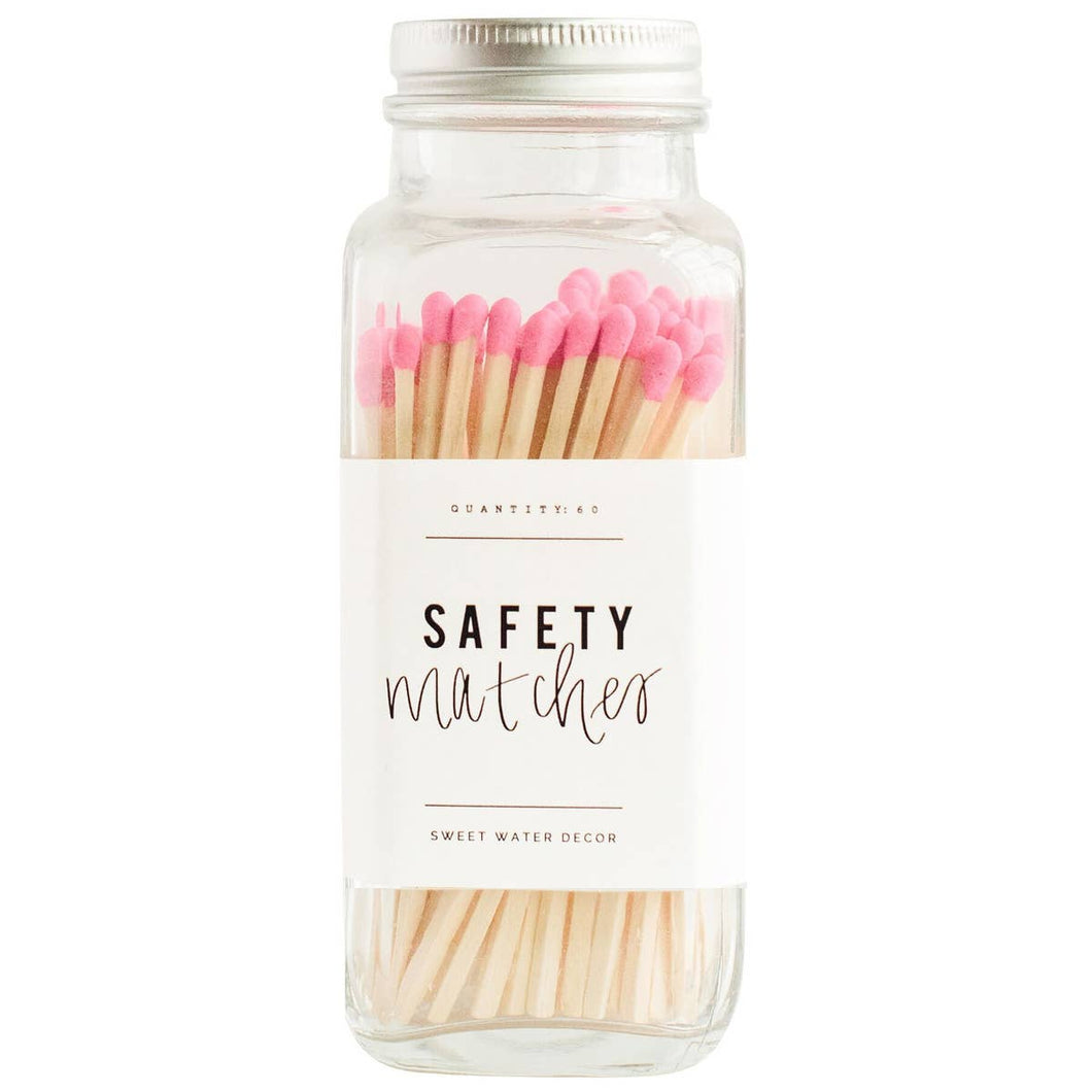 Bright Pink Safety Matches - Glass Jar