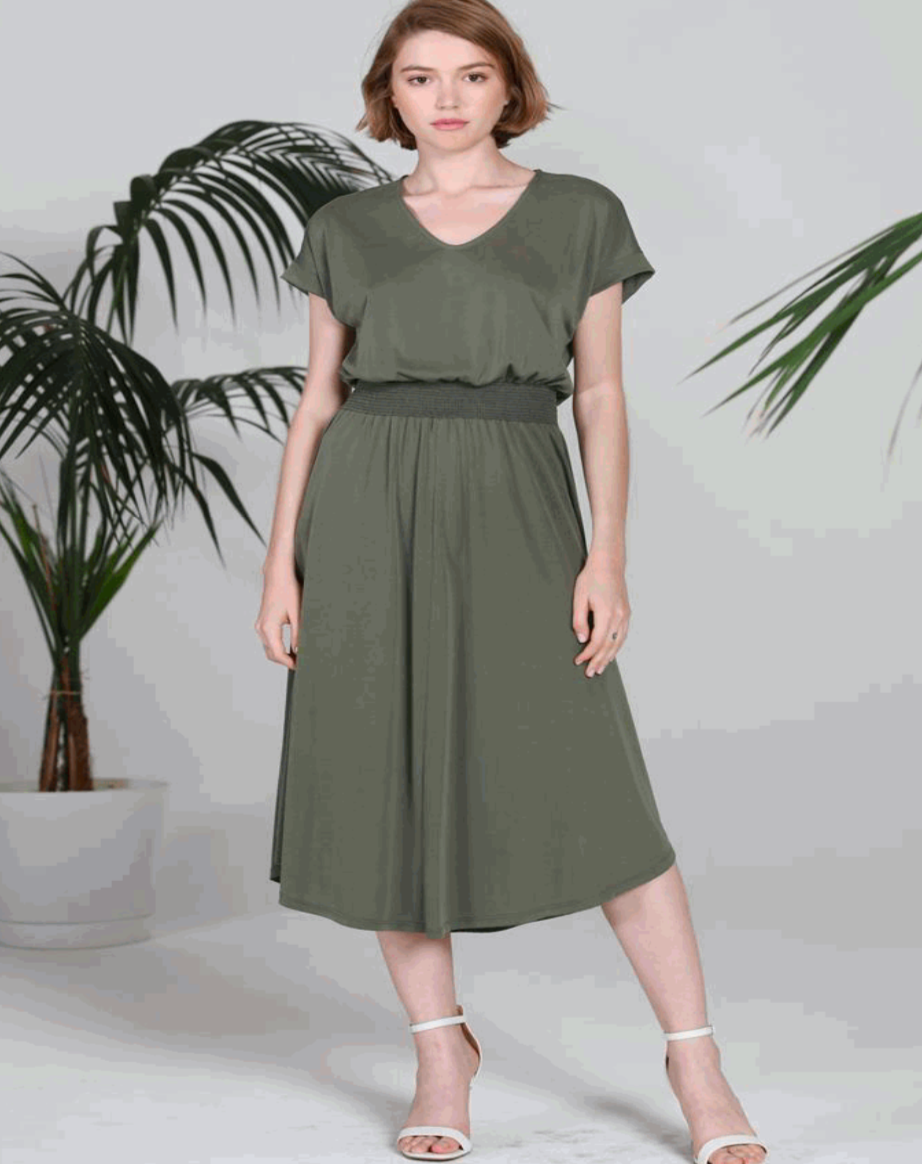 COA V-Neck Smocking Waist Dress in Olive