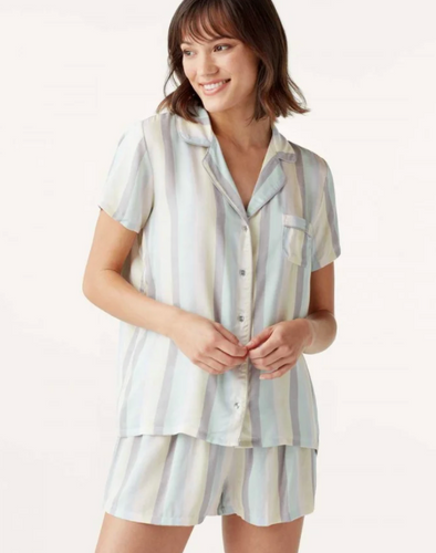 Splendid Shortie PJ Set in Shirt Stripe