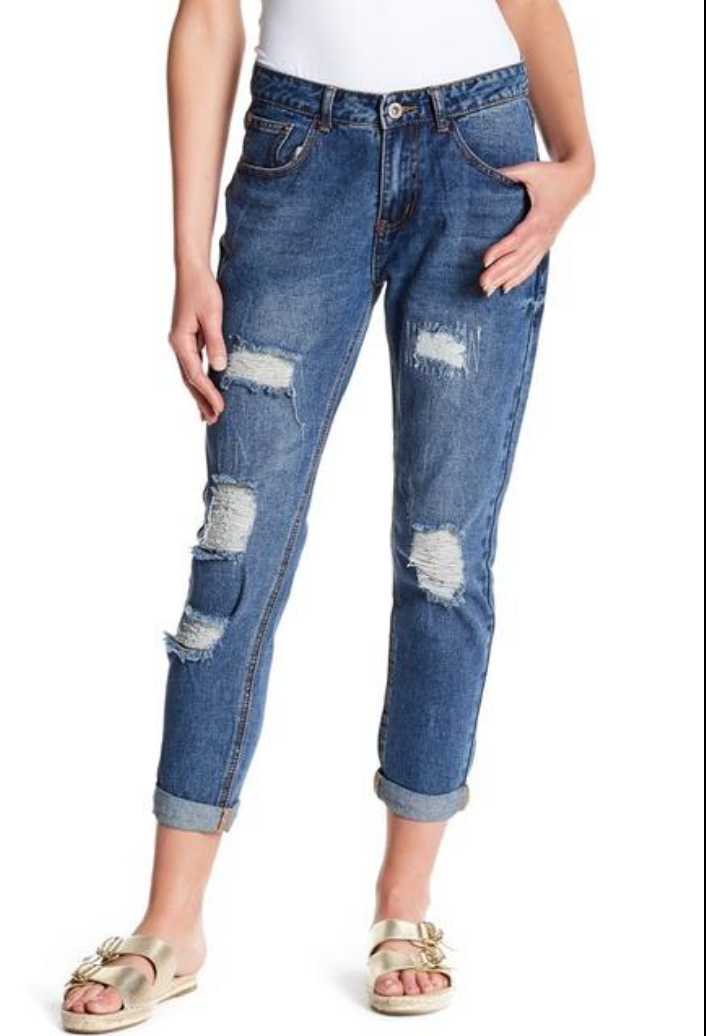 Distressed Boyfriend Jeans - Final Sale
