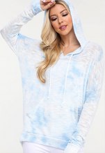 Load image into Gallery viewer, Enti Knit Hoodie in Baby Blue Tie-Dye
