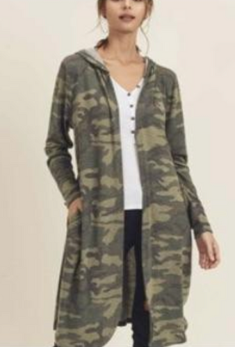 First Love Camo Knit Hooded Cardigan
