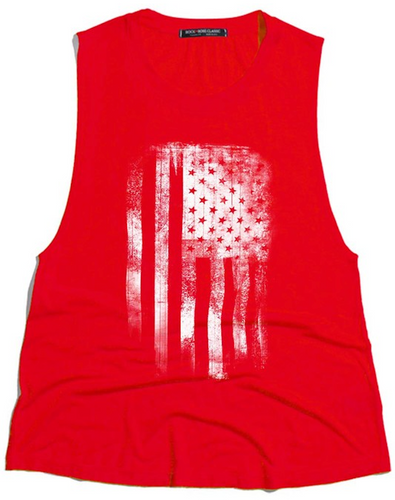 Rock & Rose American Flag Distressed Graphic Muscle Tank