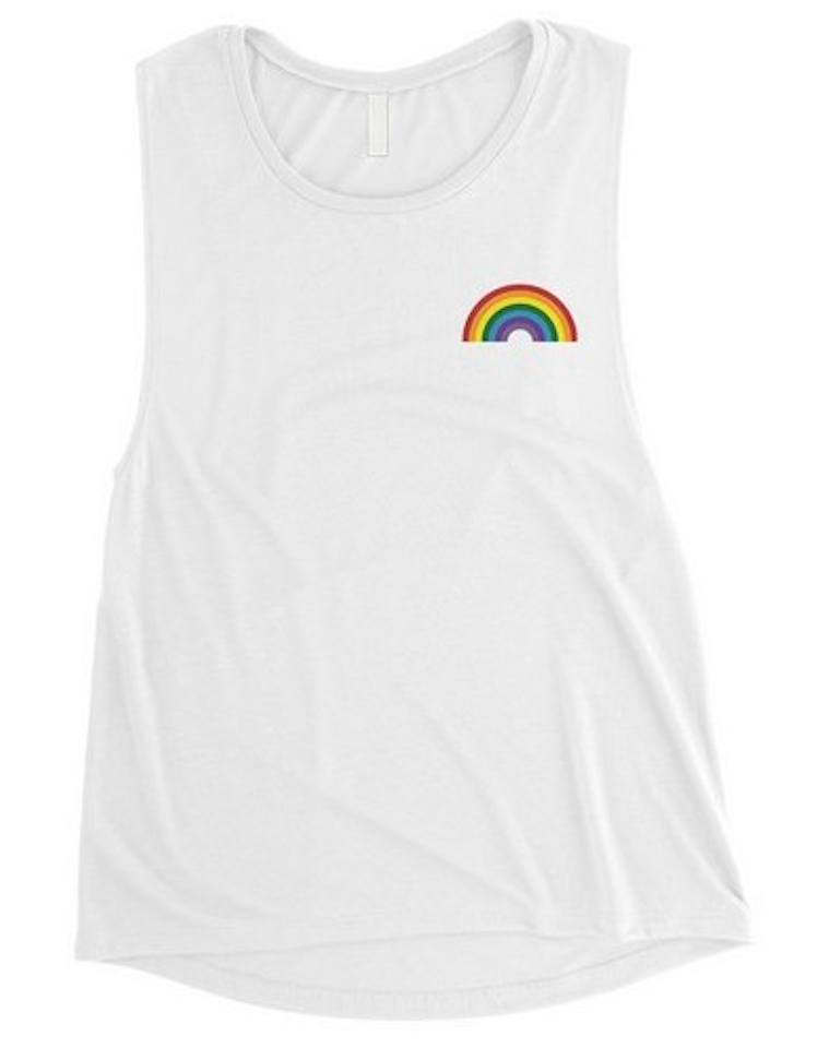 Muscle Tank with Rainbow Screen Print Accent - Final Sale