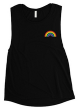 Load image into Gallery viewer, Muscle Tank with Rainbow Screen Print Accent - Final Sale