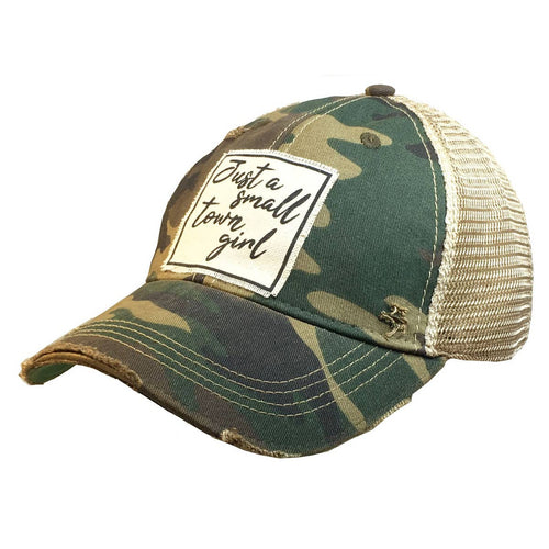 Camo Just A Small Town Girl Distressed Trucker Cap